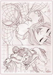 Spiderman kissinf Mary Jane