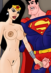 Naked WonderWoman and Superman