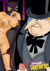 Sexy Catwoman and Pinguin in BDSM