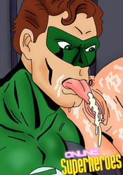 Green Lantern licking catwoman's pussy